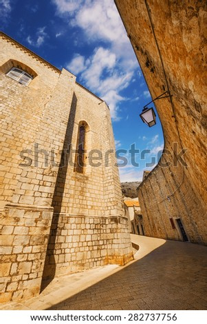 A wide angle shot of Dubrovnik Old Town generic architecture - stock photo