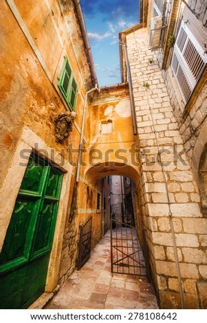A wide angle shot of generic architecture in Kotor Old Town, Montenegro - stock photo
