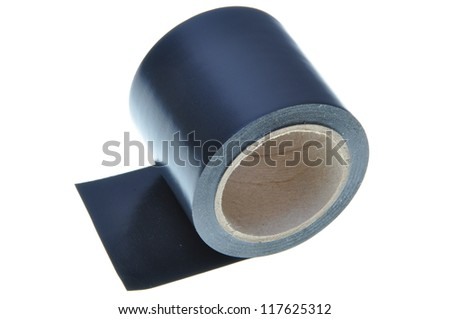 A wide insulating tape on a white background - stock photo
