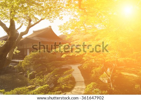 A wide variety of trees and greenery  in the Japanese garden of Ginkakuji Temple. - stock photo