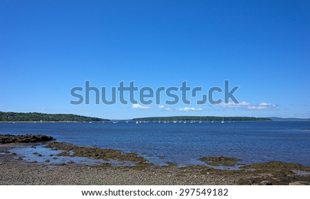A wide view of Stockton Springs Harbor, Maine with boats moored in the distance with seaweed covered rocks and pebbles on a beach. - stock photo