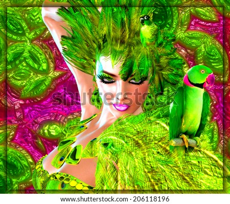 A wild digital art fashion scene with an exotic green feathered outfit worn by a stunning 3d model.Parrots an abstract backround and some fun and you have this eye popping scene sure to get attention. - stock photo