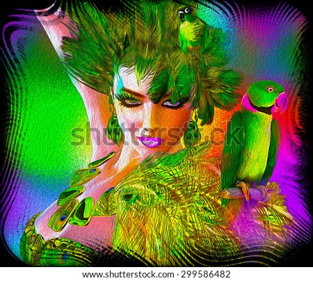 A wild digital art fashion scene with an exotic green feathered outfit worn by a stunning 3d model, Parrots and an abstract background and you have this eye popping scene sure to get attention - stock photo