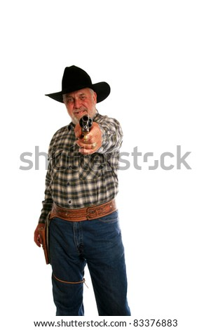 a wild west cowboy points his antique hand gun at You the viewer. isolated on white with room for your text. - stock photo