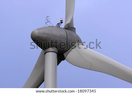 A wind energy converter close up; alternative energy generation.
