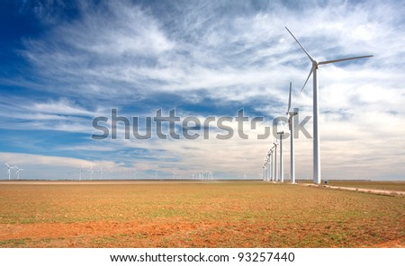 A wind farm in west Texas. - stock photo