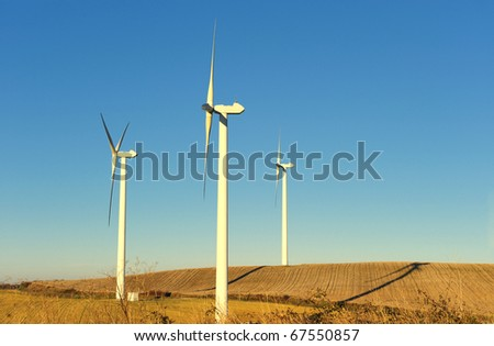 a wind turbines in the South of France (Avignonet-Lauragais) - stock photo