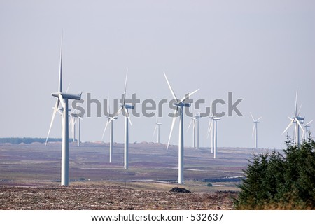 A windfarm profducing environmentally friendly electricity