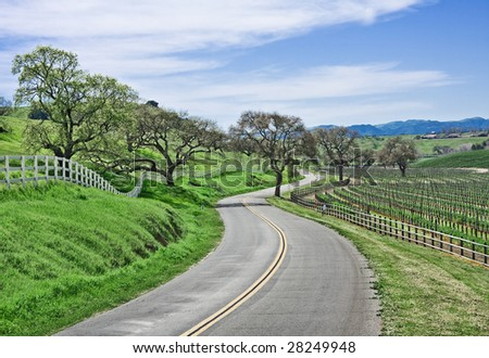 A winding country road through California wine country. - stock photo