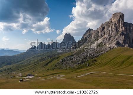 a winding mountain road - Dolomites - stock photo