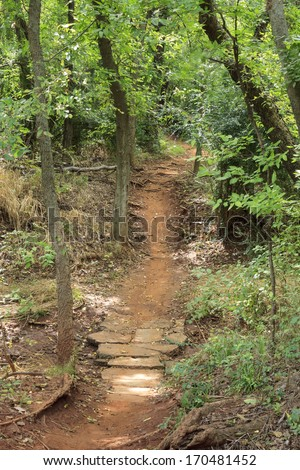 A winding walkway in a wooded area in an Oklahoma City park. - stock photo