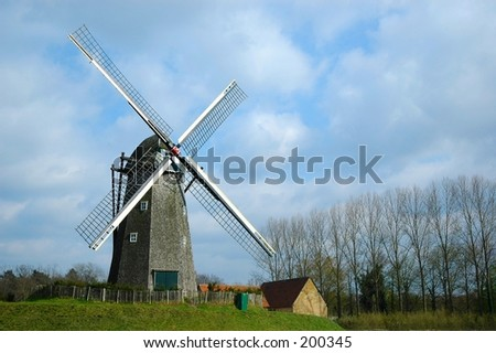 A windmill in the city of bokrijk in belgium. Taken in the summer last year.