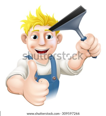 A Window Cleaner man holding a Squeegee and giving athumbs up - stock photo