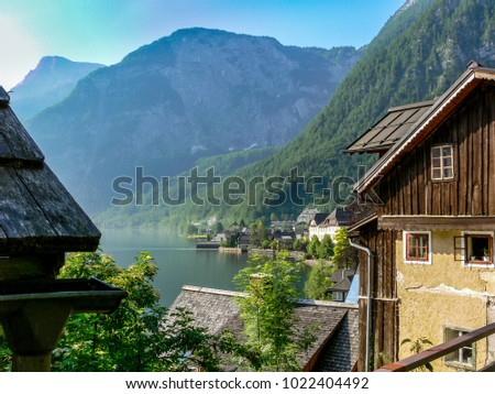 a window look at Hallstat in the Austian mountains