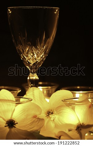 A wine glass is illuminated only be candlelight.  The soft glow shines through white flowers placed in the foreground. - stock photo