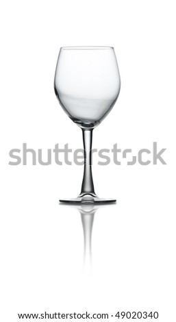 A wine glass on white background with path