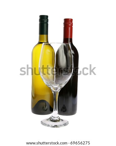 a wine glass with a bottle of red and white wine isolated on white with room for your text - stock photo