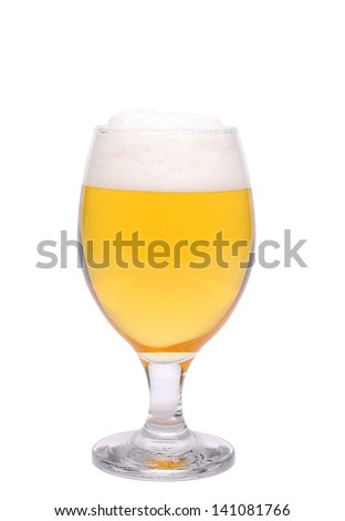 A wine goblet of beer are located on the white background - stock photo