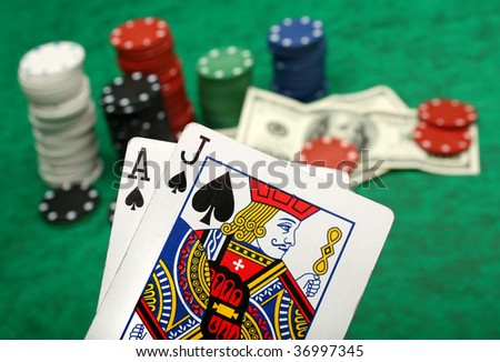 A winning blackjack hand with gambling chips - stock photo