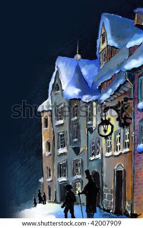 A winter Christmas scene. City, street, my creation (author Agata Dorobek) - stock photo
