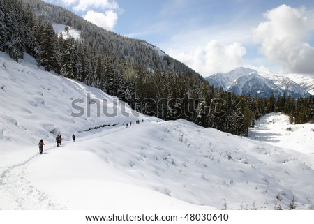 A winter hiking view near Whistler, BC, Canada. - stock photo