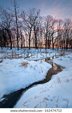 A winter sunset on Willoway Brook, The Morton Arboretum, Lisle, IL. - stock photo
