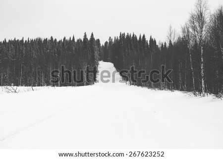 A wintry road in the countryside in winter. Image in black and white. - stock photo