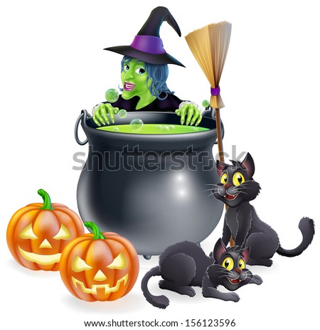 A witch Halloween scene with green witch peeking over a cauldron with broomstick, pumpkins and cats - stock photo