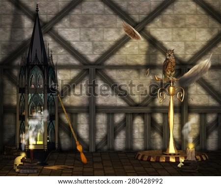 A wizard's study background. - stock photo