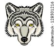 A Wolf head logo. This is illustration ideal for a mascot and tattoo or T-shirt graphic. Raster version, vector file also included in the portfolio. - stock photo