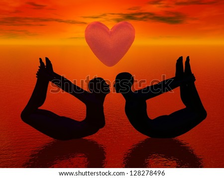 a woman and a man doing yoga pose and almost kissing under a big heart in red background - stock photo