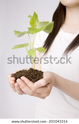 A woman and plants