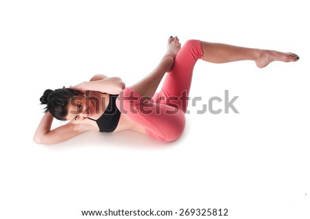A woman doing stomach's exercises