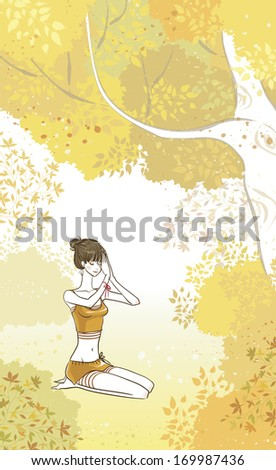 A woman doing yoga under a tree. - stock photo