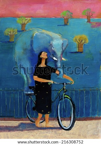 a woman goes for a walk in a bike imaginary elephant - stock photo