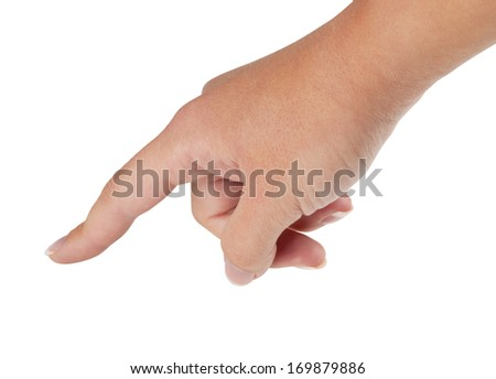 A woman hand with french manicure with forefinger touching a surface. Isolated on white background, with clipping path. - stock photo