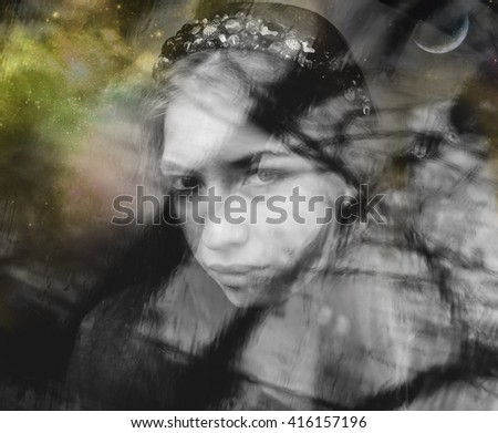 A woman in deep depression, lost in thought - stock photo