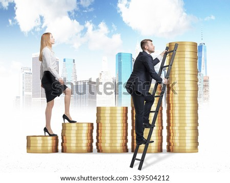 A woman in formal clothes is going up through a stairs which are made of golden coins, while a man has found a shortcut how to reach the final point. A sketch of New York on background. - stock photo