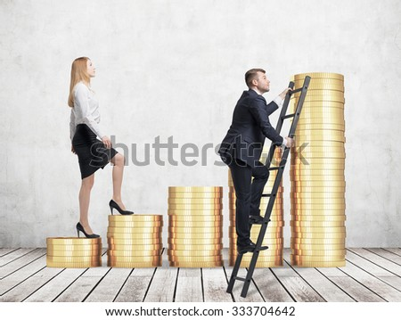 A woman in formal clothes is going up using a stairs which are made of golden coins, while a man has found a shortcut how to reach the final point. A concept of success. Concrete background. - stock photo