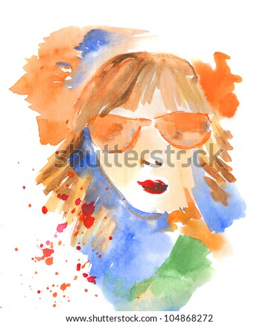 A Woman In Glasses - stock photo