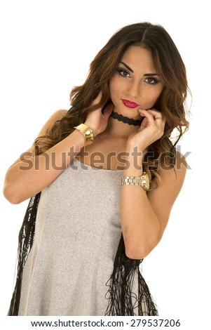 a woman in her gray tank, with a serious expression on her face. - stock photo