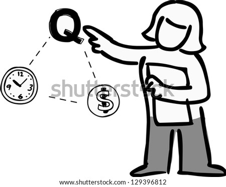 A woman indicating quality in Time Quality and Money relation. - stock photo