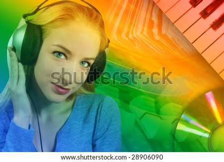 A woman is listening to music on her headphones with an abstract music background behind her. - stock photo