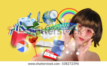 A woman is thinking about a beach travel vacation with various icons such as a suitcase, passport, towel and rainbow. - stock photo