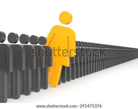 A woman looks out from the gray crowd of people  - stock photo