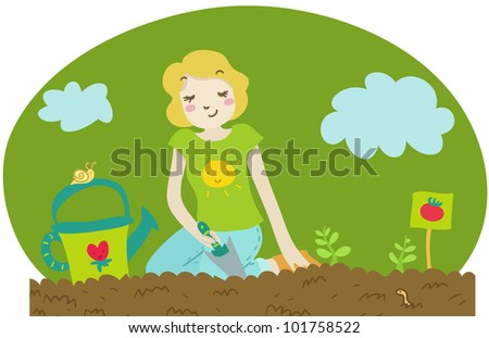 a woman plants some tomato seedlings