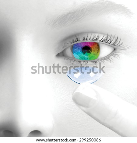 A woman puts a contact lenses. 3d render. Face is greyscale. The iris and the lens are colored.