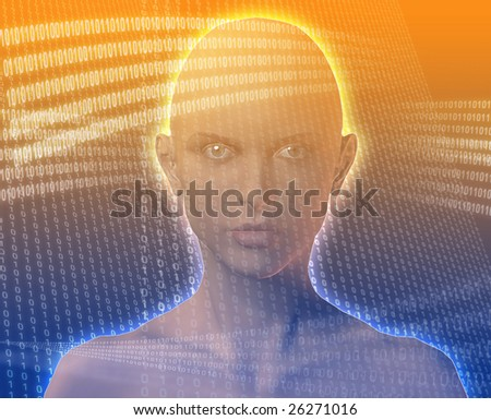 A woman's face, surrounded by digital information