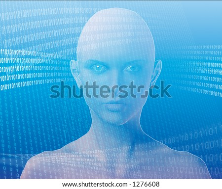 A woman's face, surrounded by information - stock photo