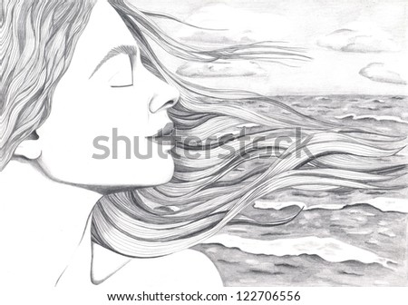 A woman's face with hair streaming in wind on a ocean's background - stock photo